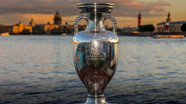 The trophy up for grabs at Euro 2020