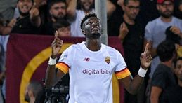Tammy Abraham celebrates after scoring his first goal for Roma