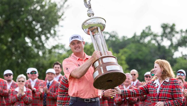 Jason Kokrak lifts the sizeable Charles Schwab Challenge trophy after his win last Sunday