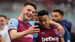 Declan Rice and Jesse Lingard celebrate taking West Ham into the Europa League