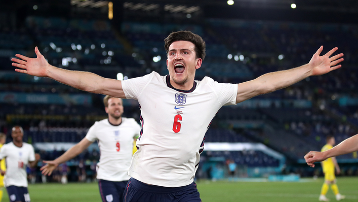 Harry Maguire put England 2-0 up in Rome with a trademark thumping header