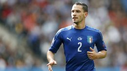 Wing-back Mattia de Sciglio in action for Italy against Spain at Euro 2016