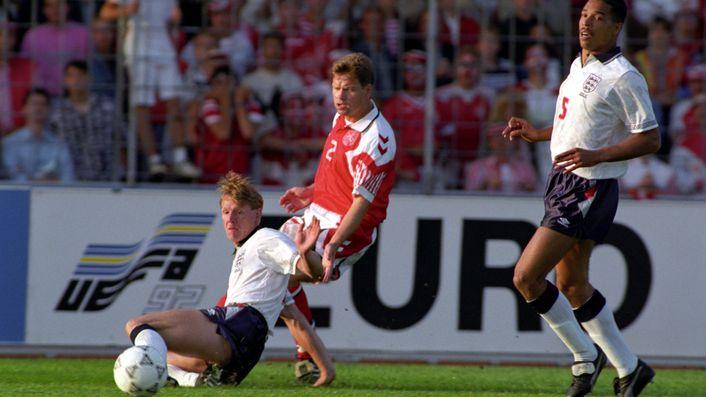 Stuart Pearce tackles Denmark's John Sivebaek during their European Championship clash