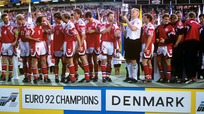 Contrasting fortunes: Denmark go on to win the European Championship while England crash out at the group stage
