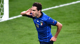 Italy attacker Federico Chiesa celebrates his opener for Spain against Italy