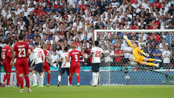 Mikkel Damsgaard cracks a free-kick beyond Jordan Pickford to put Denmark 1-0 up