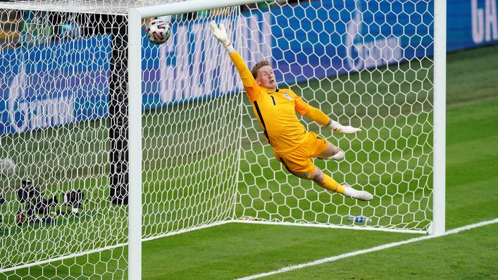 Jordan Pickford is left grasping at thin air as Denmark go 1-0 up at Wembley