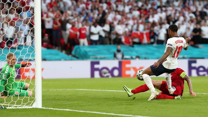 Raheem Sterling's goalbound effort deflects in off Simon Kjaer