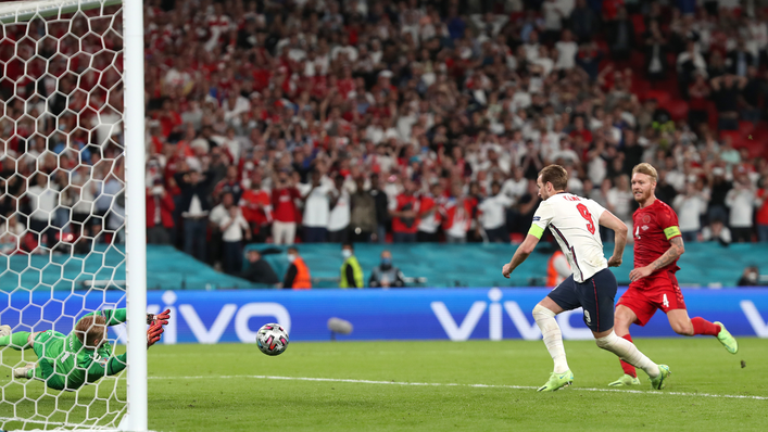 Harry Kane converts after seeing his initial penalty saved by Kasper Schmeichel