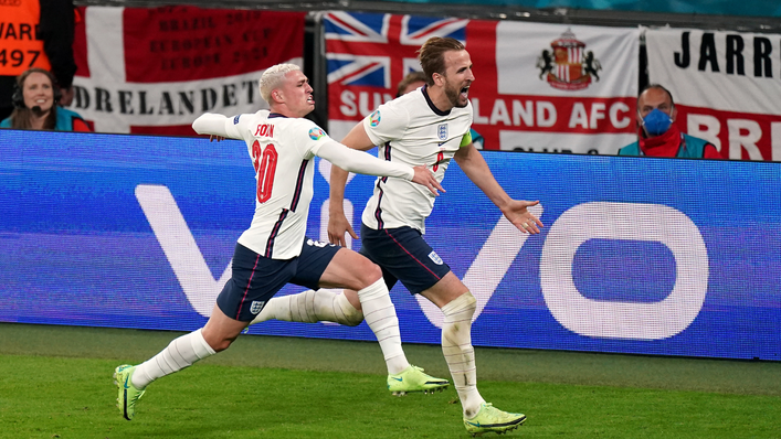 Harry Kane and Phil Foden celebrate the England skipper's goal which sent the Three Lions through to Sunday's final