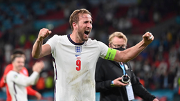 England captain and match-winner Harry Kane leads the celebrations at Wembley
