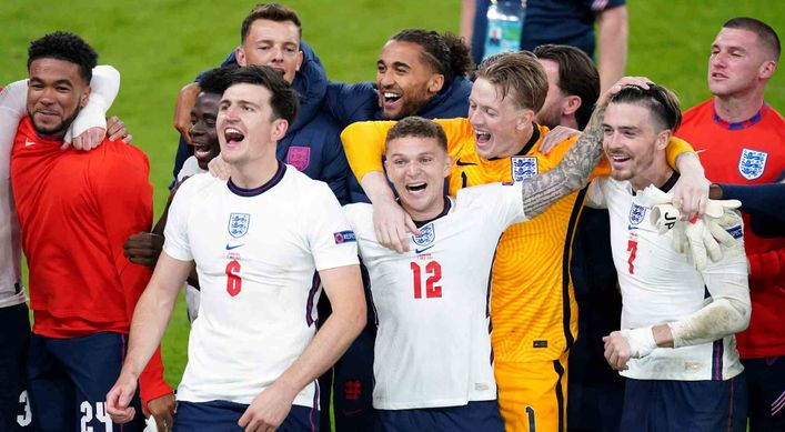 England players celebrate after overcoming Denmark to reach the Euro 2020 final