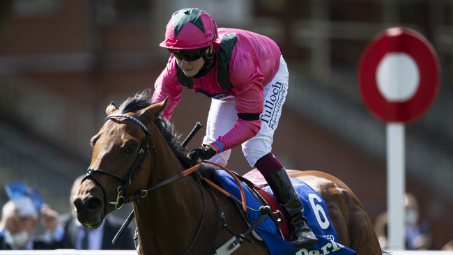 Oxted, ridden by Cieren Fallon, is looking to retain his July Cup crown