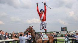 Frankie Dettori jumps for joy after winning on Inspiral