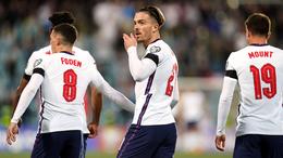 Jack Grealish celebrates after scoring his first England goal
