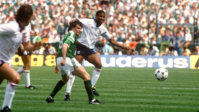 John Barnes and Republic of Ireland goalscorer Ray Houghton battle for possession in their Euro 88 encounter