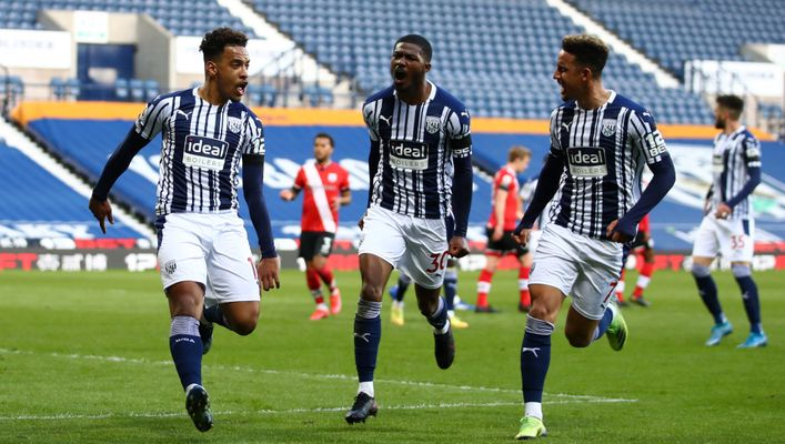 Matheus Pereira (left) celebrates the opener in West Brom's 3-0 victory over Southampton