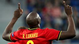 Romelu Lukaku celebrates scoring his first for Belgium against Russia
