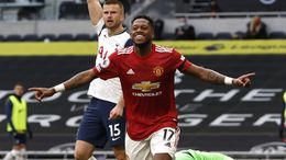 Manchester United midfielder Fred celebrates his first goal of the season against Tottenham on Sunday