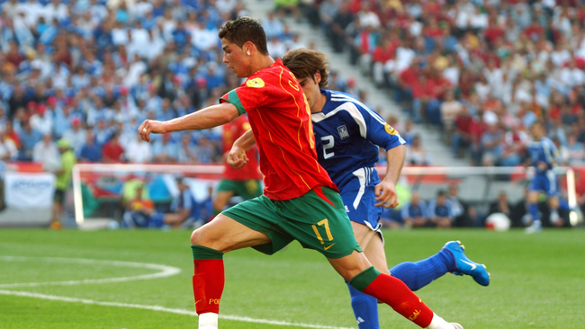 A young Cristiano Ronaldo tries to find a way back into the game for Portugal