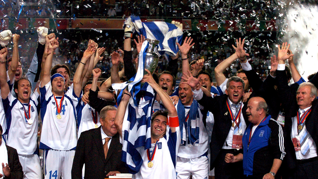 Greece celebrate their shock win over Portugal in the final