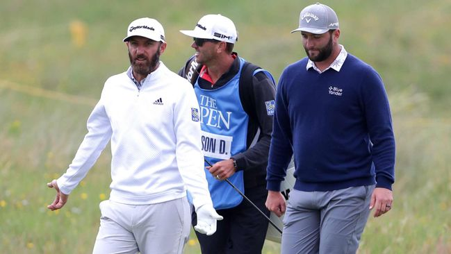Dustin Johnson (left) is in a back-and-forth battle with Jon Rahm (right) for the world No1 spot