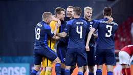 Finland celebrate their historic win over Denmark in their opening Euro 2020 match