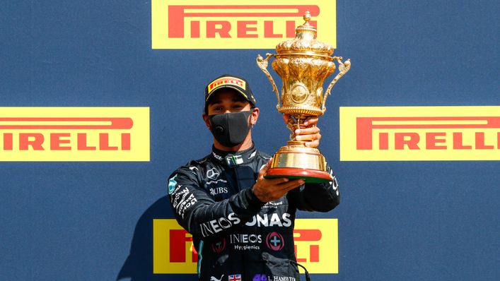 Lewis Hamilton celebrates winning the 2020 British Grand Prix at Silverstone