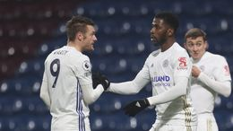 Leicester are looking to buy a new striker to challenge Jamie Vardy (left) and Kelechi Iheanacho (right)