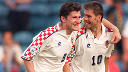 Davor Suker and Zvonimir Boban celebrate in Croatia's 3-0 win over Denmark at Euro 1996