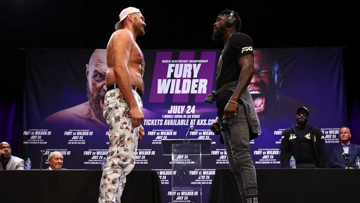 Tyson Fury and Deontay Wilder were locked in a five-minute staredown (Pic: Mikey Williams/Top Rank via Getty Images)