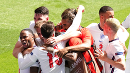England players celebrate Raheem Sterling's winning goal against Croatia on matchday one