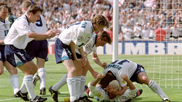 England celebrate Paul Gascoigne's iconic strike with the infamous 'dentist's chair' against Scotland at Euro 1996