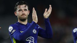 Ben Chilwell applauds the travelling fans after Chelsea edged past Brentford