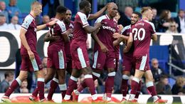 Angelo Ogbonna is mobbed by his West Ham team-mates after scoring what proved to be the winning goal