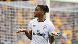 Ivan Toney coolly celebrates after his opening goal against Wolves