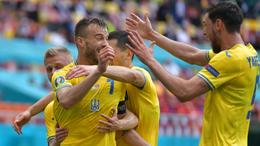 Andriy Yarmolenko celebrates scoring against North Macedonia – his second goal of the European Championships