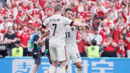Kevin De Bruyne and Eden Hazard celebrate during Belgium's 2-1 win over Denmark on matchday two