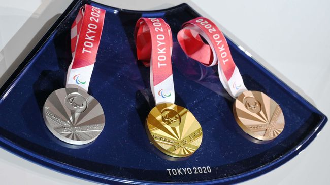 The Tokyo 2020 Olympic Games medals on display