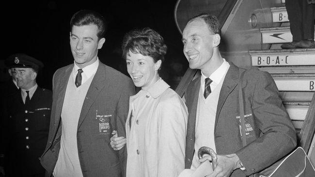 Three of Great Britain's 1964 gold medal winners, Lynn Davies, far left, Ann Packer, centre, and Ken Matthews