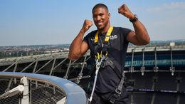 Anthony Joshua took to the roof of the Tottenham Hotspur Stadium to publicise his next fight (Pic: Mark Robinson/Matchroom Boxing)