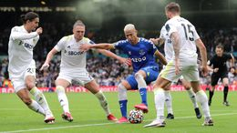 Everton's Richarlison finds himself surrounded by Leeds players whilst on the ball