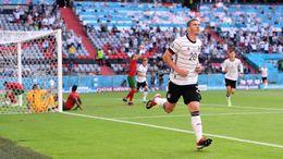 Robin Gosens celebrates scoring in Germany's victory over Portugal