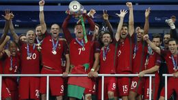 Portugal celebrate their Euro 2016 final victory over France