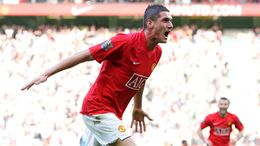 Federico Macheda celebrates his stunning debut goal for Manchester United against Aston Villa