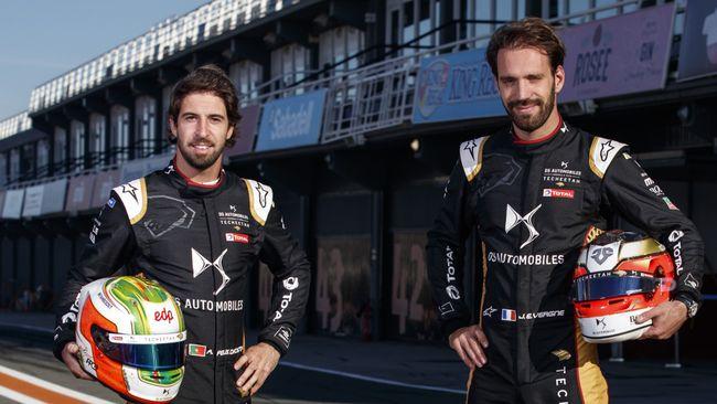 Defending Formula E champion Antonio Felix da Costa, left, with Techeetah team-mate and double champion Jean-Eric Vergne