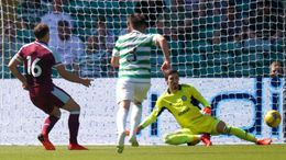 Mark Noble strokes his penalty past Vasilis Barkas to put West Ham 3-1 up against Celtic