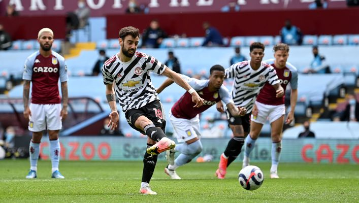 Bruno Fernandes has scored from the spot every time he has faced Aston Villa for Manchester United