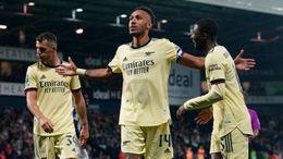 Hat-trick hero Pierre-Emerick Aubameyang celebrates scoring his third of the night against West Brom