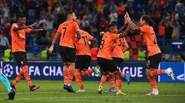 Shakhtar Donetsk celebrate after scoring against Monaco
